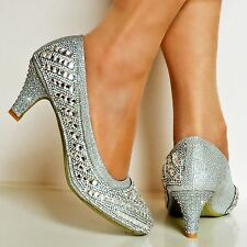 NEW Ladies Diamante Sparkly Low Kitten Heel Silver Party Court Shoes Pumps Size