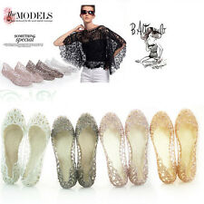 Women Crystal Glitter Plastic Jelly Hollowed Beach Ballet Shoes Flat Sandals KB