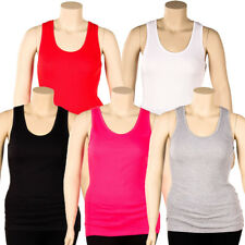 Womens Plus Size Tank Top 100% Cotton Ribbed Long Workout Scoop Basic 1X 2X 3X