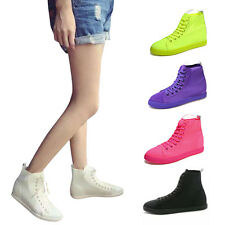 Fashion Women Ladies High Top Canvas Shoes Lace-up Casual Sneaker Shoes Flat