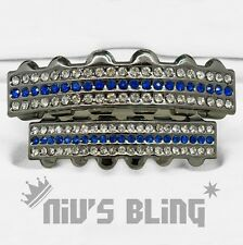 Iced Out Gunmetal GRILLZ Blue Stripe CZ Bling Mouth Teeth Caps Hip Hop Grills