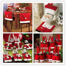 Christmas Decorations Happy Santa Chair & Toilet Covers,Gift Bag  Dinner Decor