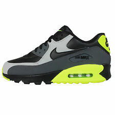 Nike Air Max 90 LTR Leather Black Grey Volt Mens Running Shoes NSW 652980-007