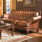 BUTTON TUFTED TOP GRAIN THREE COLOR BROWN LEATHER SOFA LIVING ROOM FURNITURE