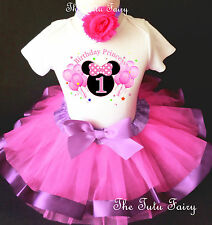 Minnie Mouse Hot Pink Lavender Girl 1st First Birthday Tutu Outfit Shirt Set