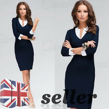 UK Womens V-Neck Bodycon Pencil Dress Office Business Career Party Wear to Work