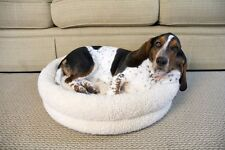 Premium Snuggle Dog Bed White Round Small Medium Large New Pet Luxury Polyester