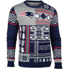 Klew Men's New England Patriots Patches Ugly Sweater
