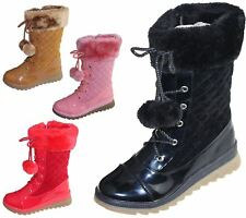 Girls Fur Lined Boots Quilted Winter Warm Christmas High Top School Shoes Size