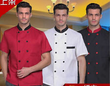 Kitchen Men Short Sleeve Chef Uniform Chef Jacket Coat Cooker Work Clothing Suit