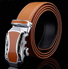 2015 Fashion Mens Genuine Leather Belt With Automatic Buckle Yellow Waist Stap