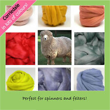 CORRIEDALE dyed colours combed wool fibre top for spinning & crafts