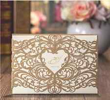 Gold Laser Cut Luxury Wedding Invitation Cards Love Heart With Envelopes Seals