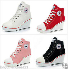 Fashion Women Shoes Canvas High Top Wedge Heel Lace Up Fashion Sneakers @2