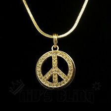 14k Gold MINI PEACE sign Square Snake Chain Iced Out Pendant Necklace Hip Hop