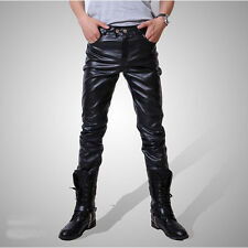 New Men's Casual Slim Fit Skinny PU Faux Leather Jeans Trousers Fashion Pants