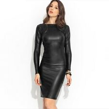 2015 Sexy Women Mini Leather Look Dress Backless Cross Bandage Long Sleeve Black