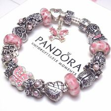 Authentic Pandora Silver Charm Bracelet with Euro charms Butterfly Heart Family