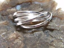 Hammered.925 Sterling Silver Interlocking Seven Band Rolling Ring -Custom Size