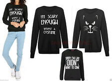 Womens Ladies Animal Scary Cat Print Halloween Texture Fleece Jumper Sweater Top