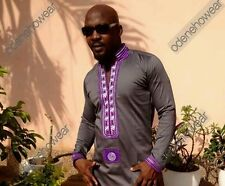 Odeneho Wear Men's Grey Polished Cotton/Purple Embroidery.African Clothing.