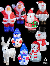 LED Acrylic Christmas Figures Light Up 3D Santa Snowman Outdoor Decoration Shape