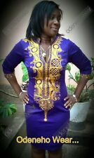 Odeneho Wear Purple Polished Cotton Dress/ Gold Embroidery.African Clothing.