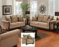 Delray Traditional Sofa LoveSeat & Chair 3pc Living Room Furniture Set Chenille