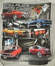 Newport Blue Ford Mustang Classic Built Still Plays with Cars Men Tan TShirt NEW