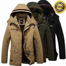 Hot Men's Warm Jackets Parka Outerwear Fur lined Winter thicken Long Coat Hooded