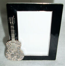 Black Enamal Finish Small Desk Top Style Photo Frame w/Silver Guitar & Gemstones