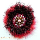 Hand Made BOHO Flower PUFF Pearls Hair Clip Claws Safety Brooch Pin - 1 piece