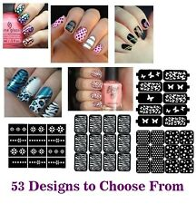 53 New Designs Nail Art Stencils Vinyl Decal Stickers Manicure French TIPS