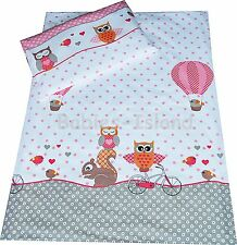 Duvet cover+Pillowcase/Curtains - Baby/Toddler,/Junior PINK OWLS WITH SQUIRREL