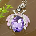 1PC Vivid Bee Crystal Rhinestone Silver Plated Pendant Gift For Necklace Charm