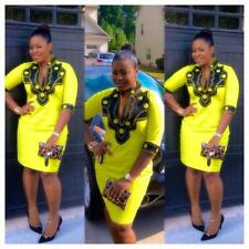 Odeneho Wear Yellow Polished Cotton Dress/ Black Embroidery.African Clothing