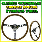 SAAS CLASSIC CHROME WOODGRAIN WOOD STEERING WHEEL MONARO TORANA GT MG VALIANT