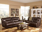 ELEMENTS - Modern Genuine Chocolate Leather Recliner Sofa Couch Set Living Room