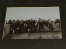 Amusing Vintage Photo of 12 Boys from behind Looking over a Stone Wall - framed