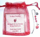 An Apple for the Teacher Bookmark Thank You Gift & Apple Charms Gift Tag & Bag