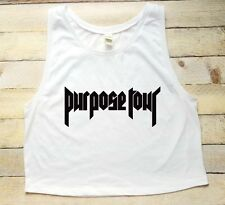 JUSTIN BIEBER PURPOSE TOUR WHITE JUNIORS CROP TOP