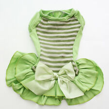 New Dog Pet Green Striped&Bow Dress Shirt Cat Puppy Vest Skirt Clothes 5 Sizes