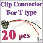 20 x T type 9V 9 Volt Battery Snap On Clip Connector With Cable