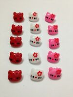 10x Hello Kitty White,Pink,Red Crafting Buttons Sewing Clothes hairband Plastic