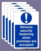 Pack of 5 100x150mm Remove Security Fastening Sign 0533