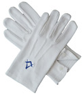 White Masonic Gloves with Embroidered Square & Compass