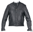 NEW MEN'S PREMIUM SCOOTER LEATHER MOTORCYCLE JACKET