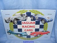 Metal Advertising Car Garage Sign Jaguar Racing 4 cars