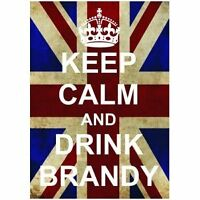 S2519 KEEP CALM DRINK BRANDY FUN UNION JACK METAL SIGN