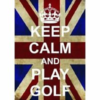 S2521 KEEP CALM PLAY GOLF FUNNY UNION JACK METAL SIGN